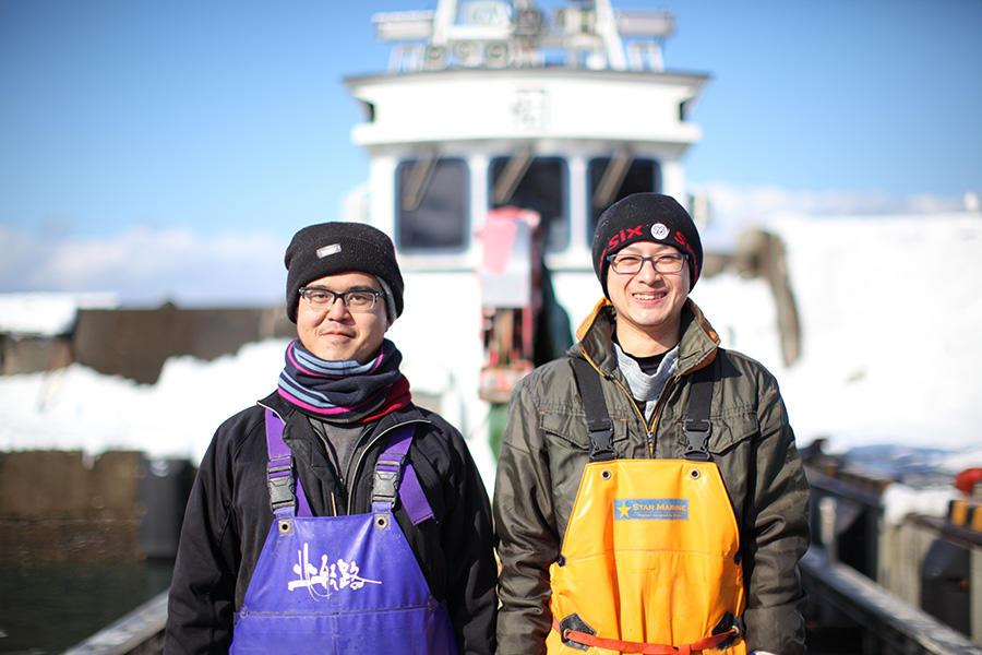 「会社員」として海に出る、寿都町の2人の漁師。